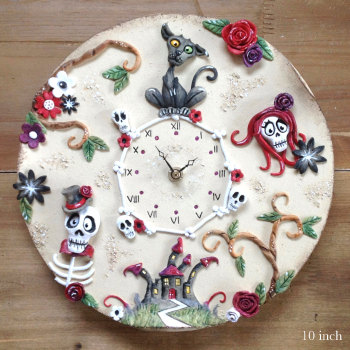 Ceramic Wall Clock - Day of the Dead Design Large