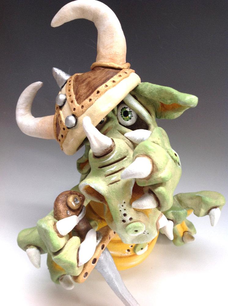 Dragon Viking - Ceramic Sculpture