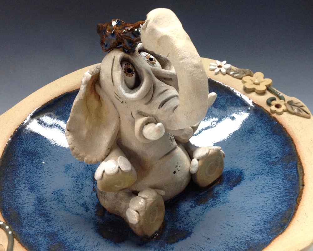 Elephant Birdbath Bowl Pottery Ceramic Sculpture By Artist Lucy Kite