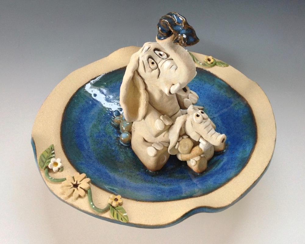 Elephant and Calf Birdbath / Bowl