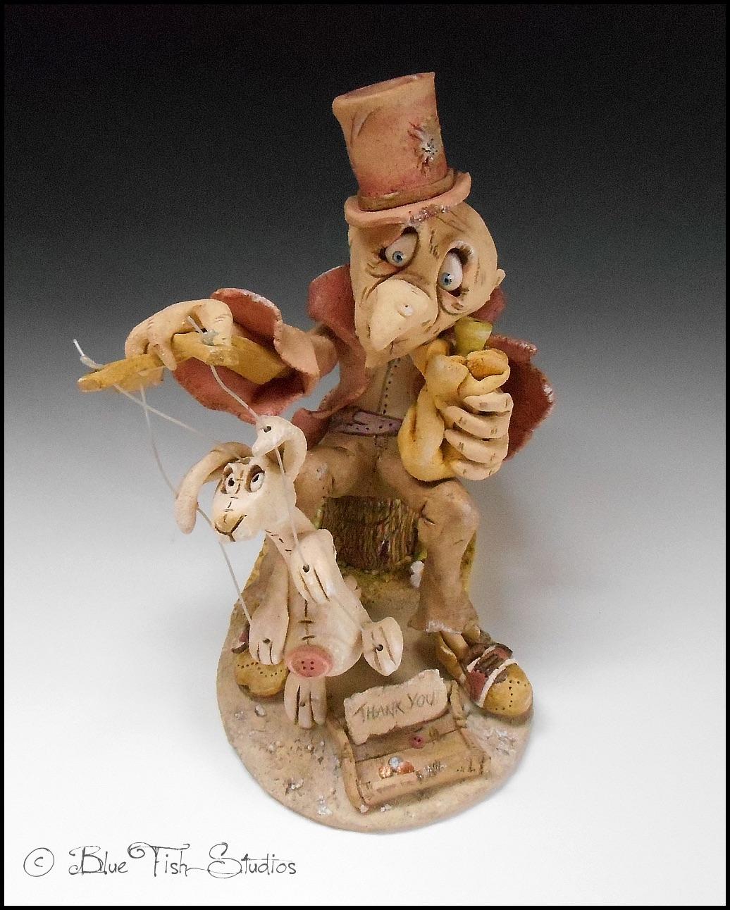 marionette puppeteer sculpture ceramic stoneware