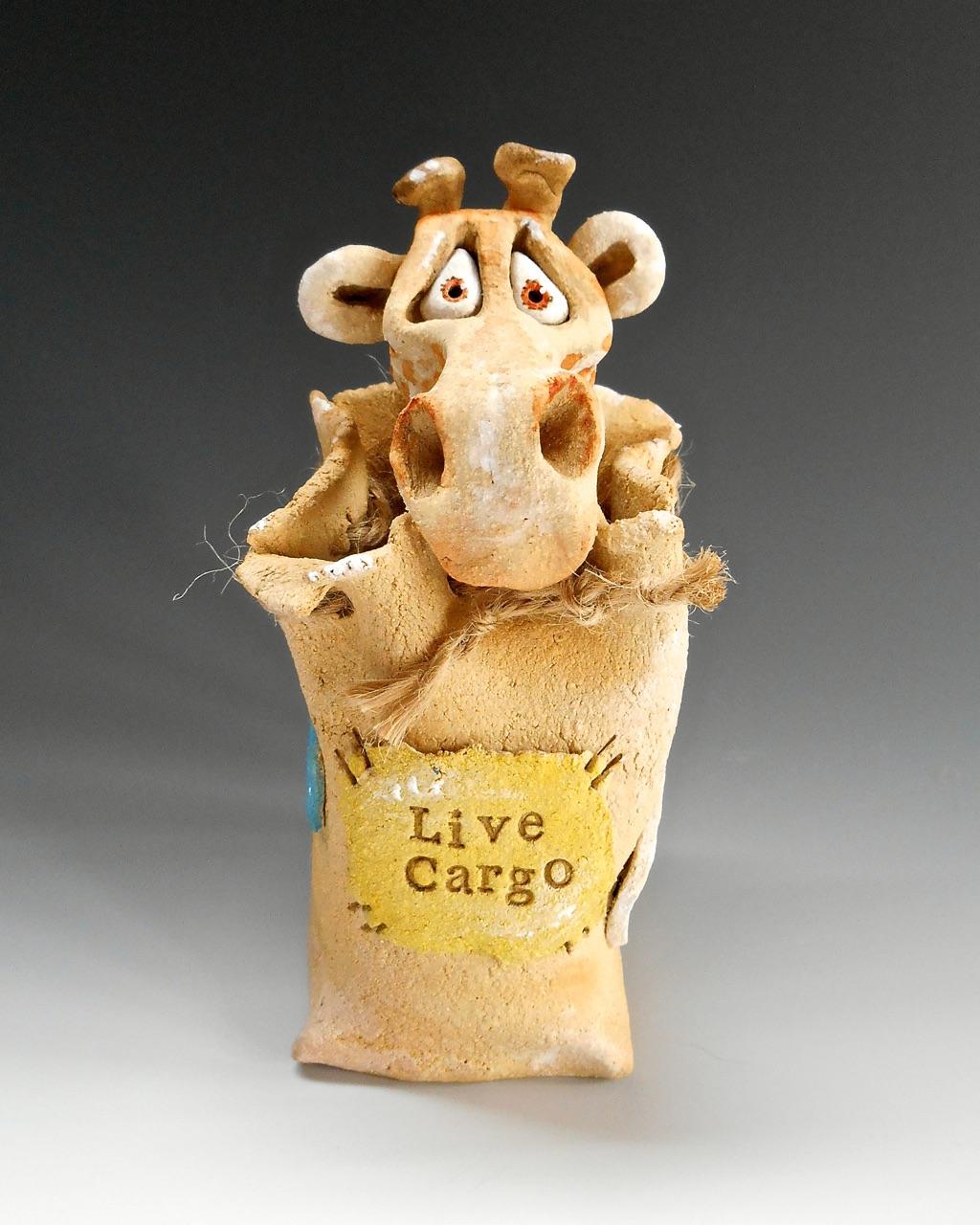 Giraffe Sack Sculpture Ceramic Pottery