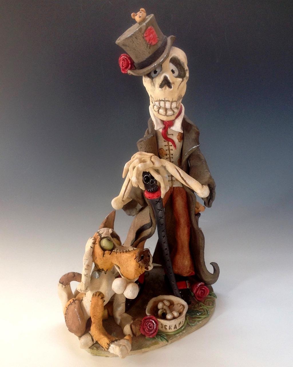 skeleton voodoo goth sculpture ceramic stoneware
