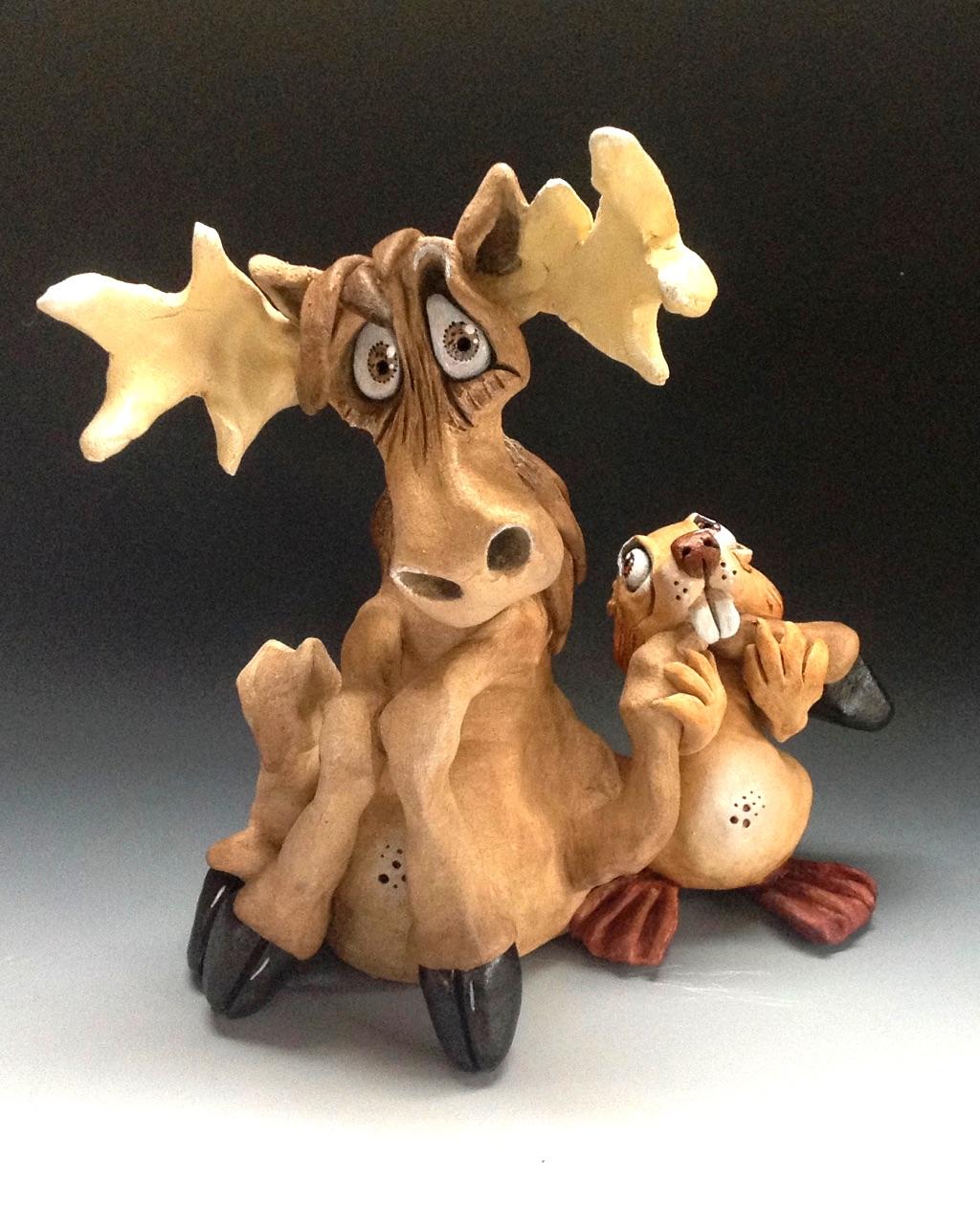 Moose and Beaver sculpture ceramic stoneware