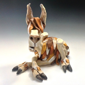 Huckleberry the Llama Ceramic Sculpture
