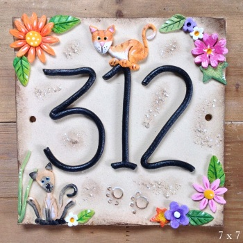 House Address Number, Colourful Flowers