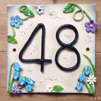 House Address Number, bluebells design