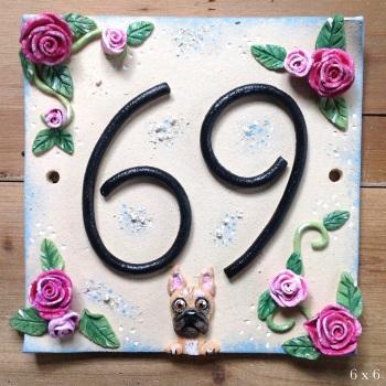 House Address Number, Vintage Rose