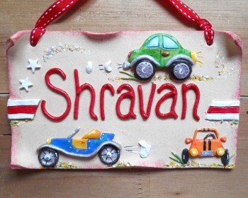Children And Kids Personalised Name Signs For Bedroom Doors - Cars sign and names