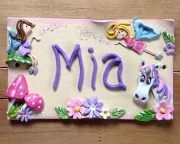 Children's Name Sign - Unicorn and Fairies