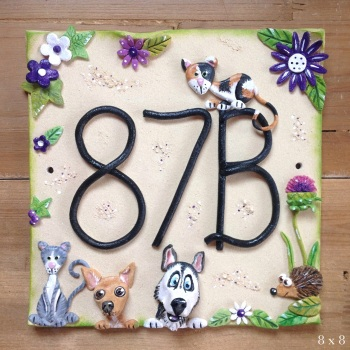 House Address Number, green and purple flowers