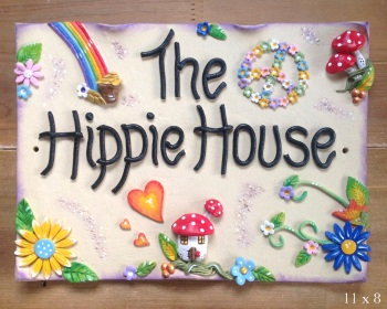 House Sign Ceramic - Hippy Design
