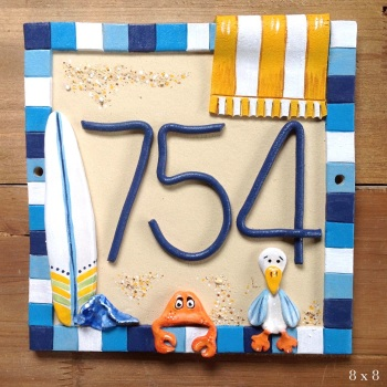 House Address Number with beach hut design