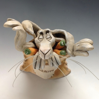 Sleeping Hare Ceramic Pottery Sculpture