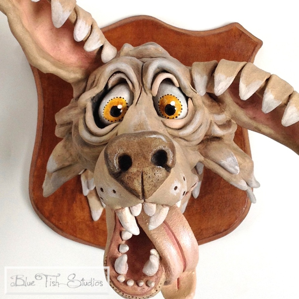 Rufus Wolf Head - Ceramic Wall Sculpture
