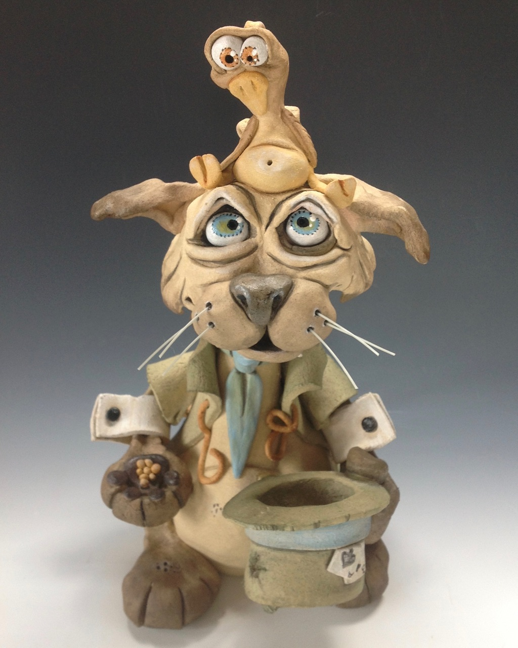 Whimscial Cat Sculpture ceramic pottery