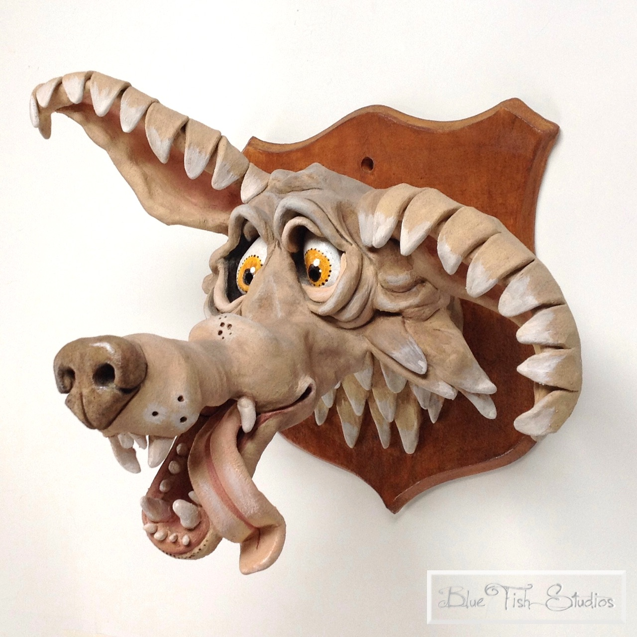 Wolf Wall Sculpture Ceramic Pottery