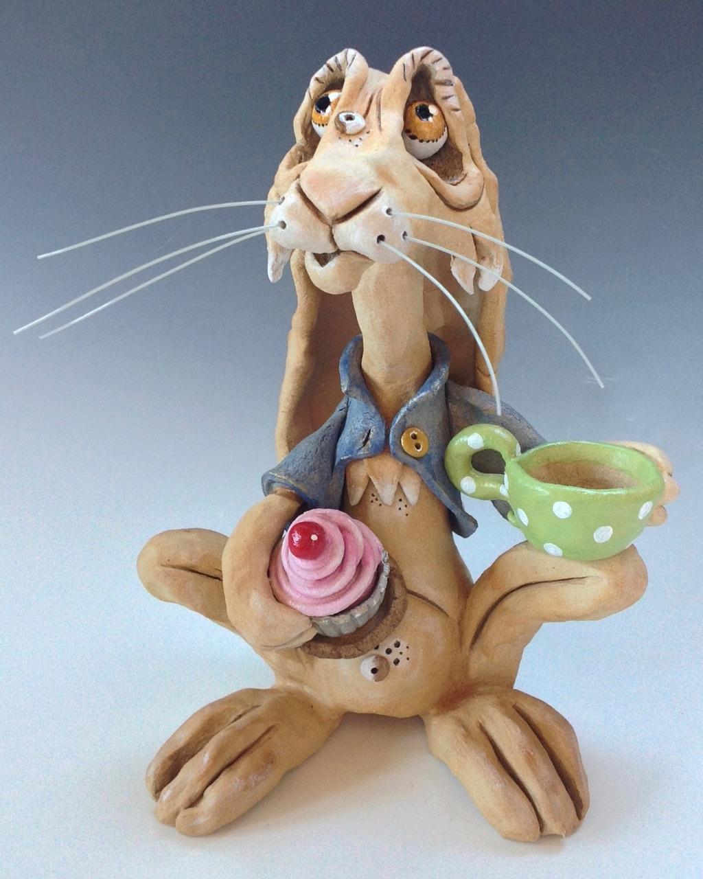 March Hare sculpture ceramic stoneware