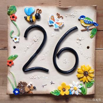 House Address Number, garden creatures design