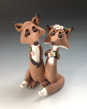 Wedding Fox Couple, Bride and Groom - Ceramic Sculpture