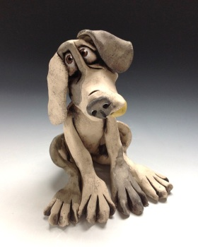 Dog with Ball Sculpture - Ceramic