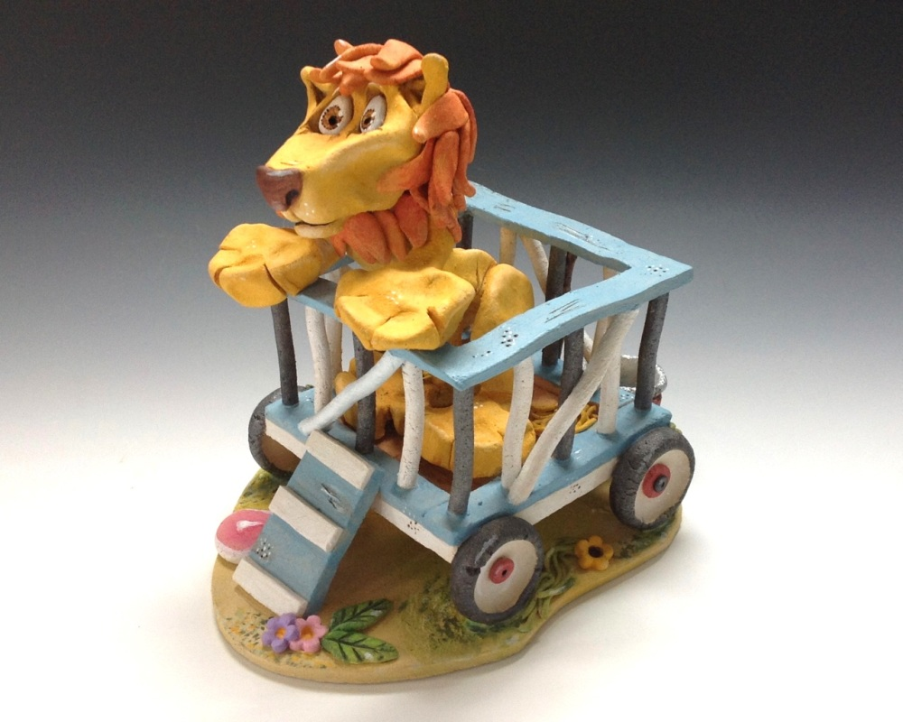 Arnie the Circus Lion - Ceramic Sculpture