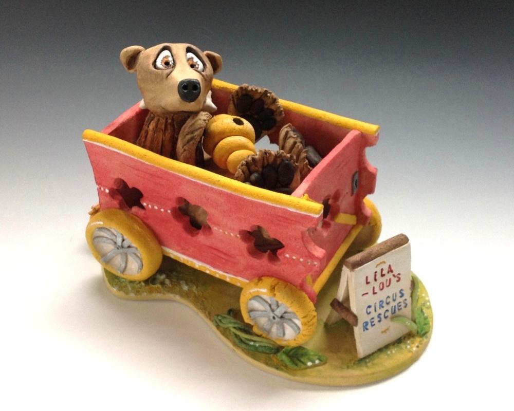 Bernard the Circus Bear - Ceramic Sculpture