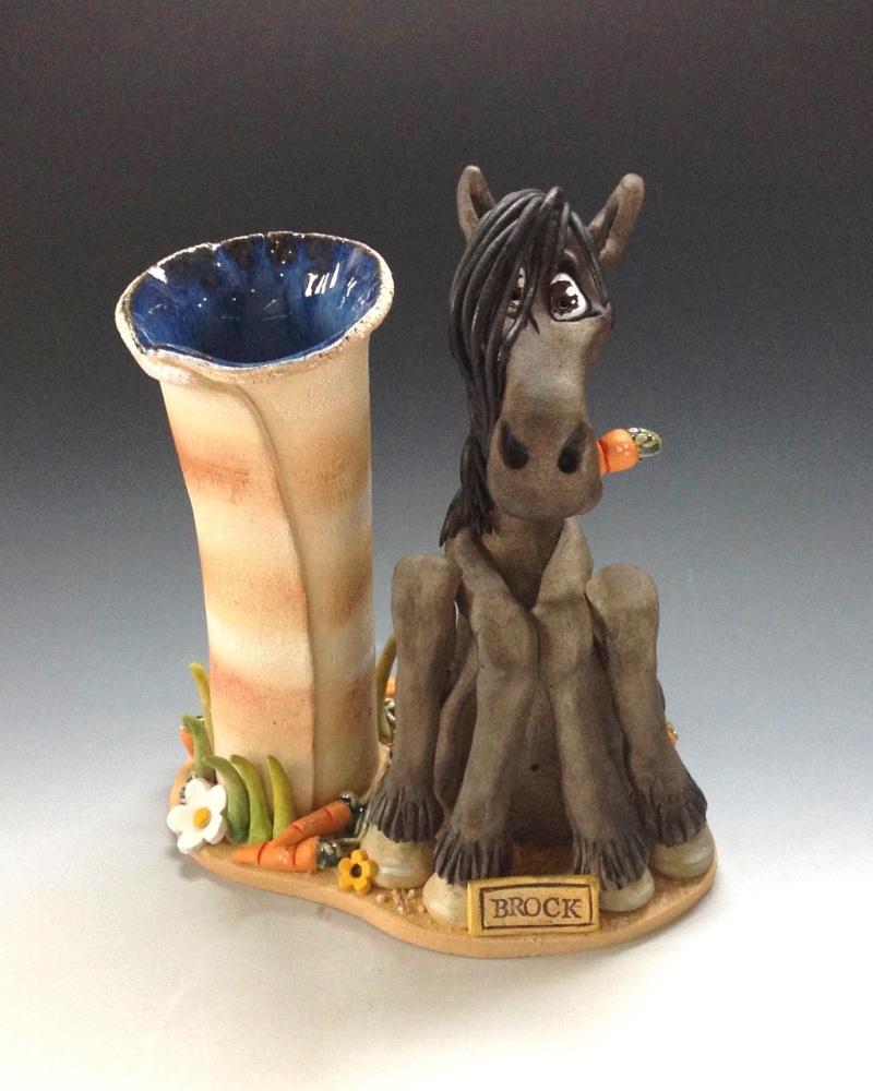 Commissioned Horse or Donkey Vase Sculpture - Ceramic