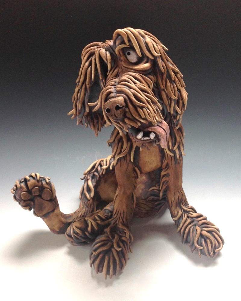 Whimsical Dog - Ceramic Wall Sculpture