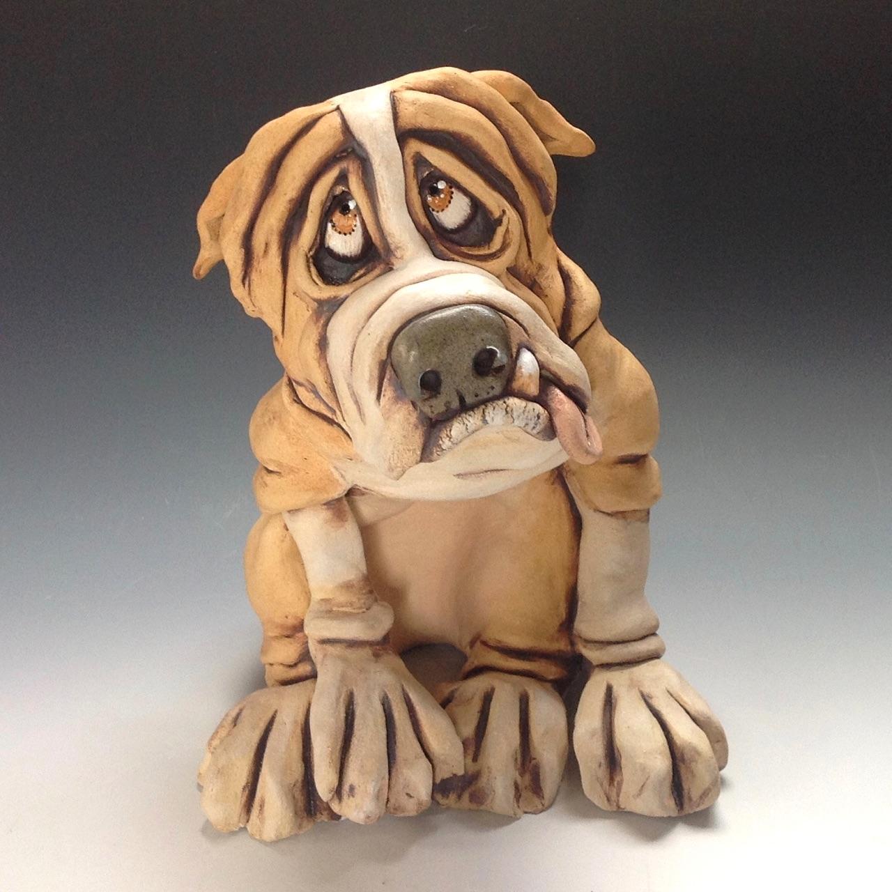 Engliosh Bulldog Dog Sculpture Ceramic
