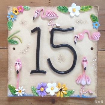House Address Number, Flamingo Design