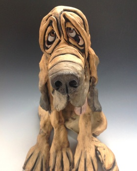 Bloodhound Sculpture 'Bertram' - Ceramic