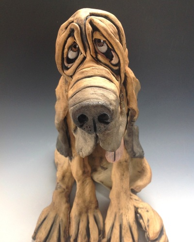 Bloodhound Sculpture 'Arthur' - Ceramic