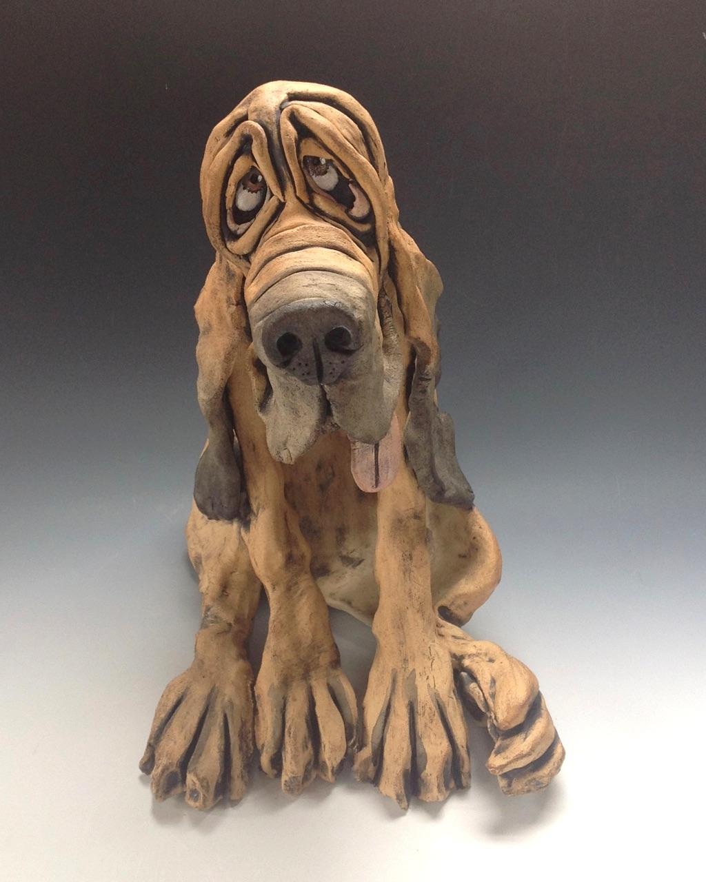 Bloodhound Dog sculpture ceramic stoneware