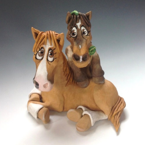 Commissioned Two Horses or Donkeys Sculpture - Ceramic