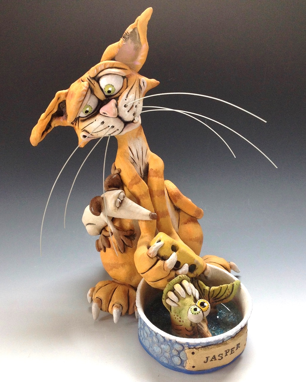 Cat Sculpture Ceramic Pottery