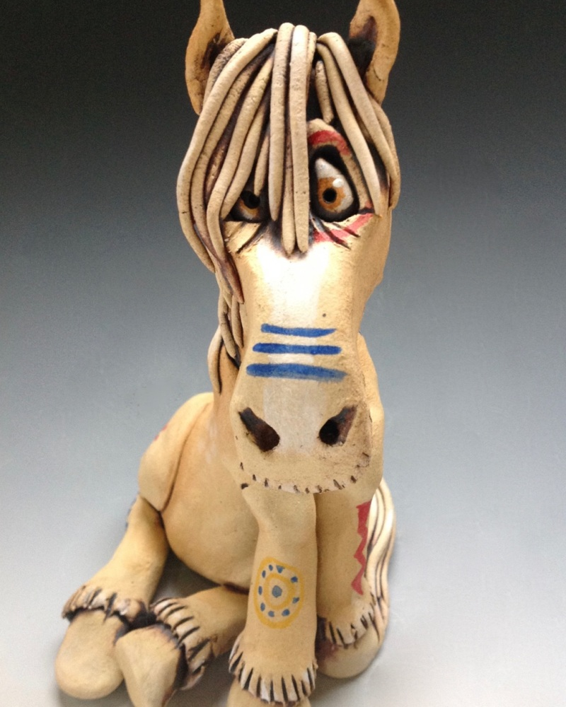 <!_001_>Tonka the Painted Horse Sculpture - Ceramic