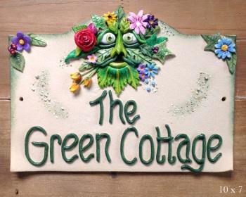 House Sign Ceramic - Green Man Design