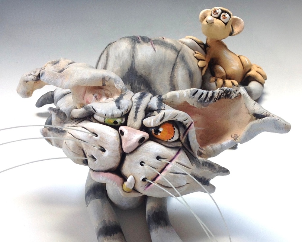 Whimsical Cat Sculpture 'Cedric' - Ceramic