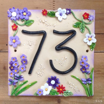 House Address Number with Lavender Design