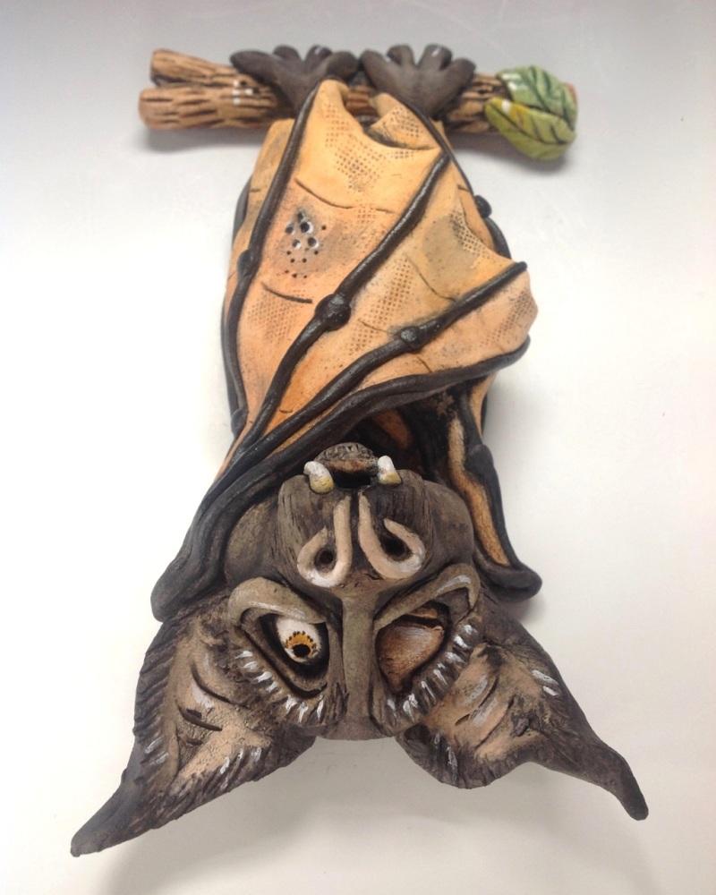 Whimsical Bat Sculpture 'Herbert' - Ceramic Wall Sculpture