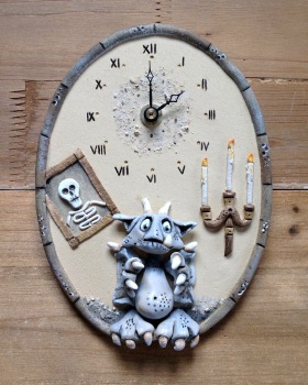 Ceramic Wall Clock - Gargoyle