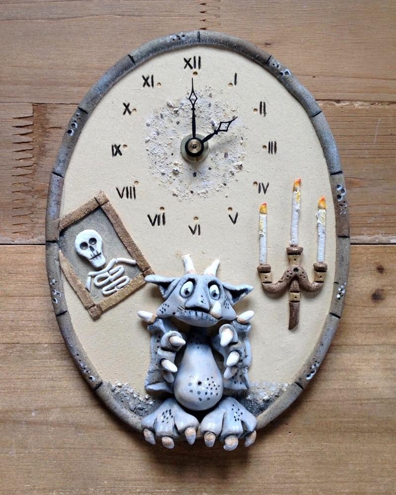 Ceramic Wall Clock - Gargoyle