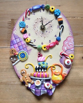 Ceramic Wall Clock - Tea Party