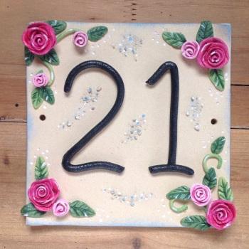 House Number 21 - Vintage Rose Design - SALE