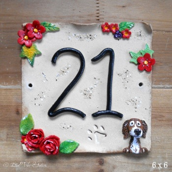 House Number 21 - Red Flowers Design - SALE