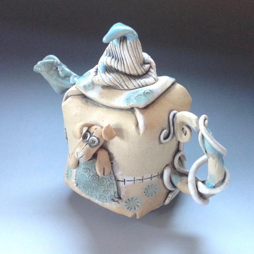 Whimsical Blue Accent Tea Pot