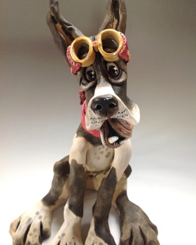 Great Dane Dog Sculpture - Ceramic