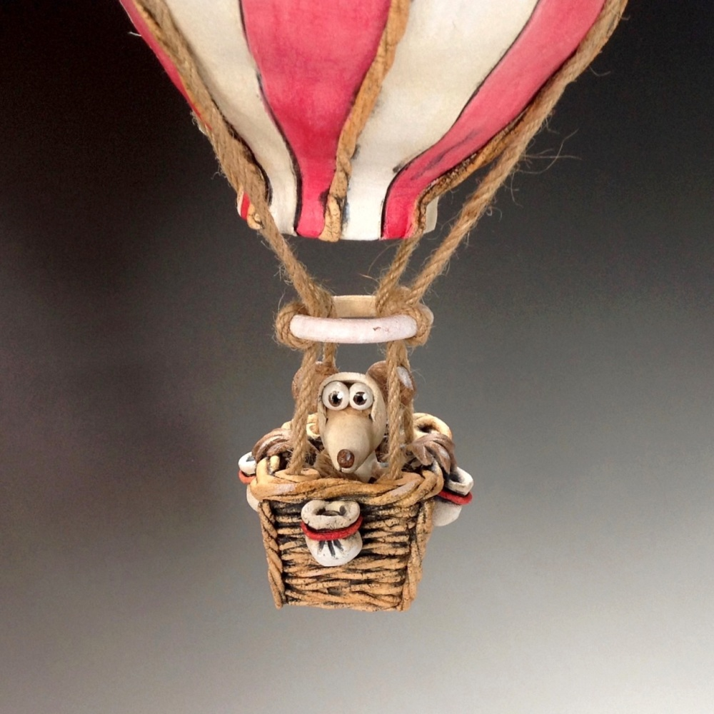 Hot Air Balloon and Mouse Sculpture - Ceramic