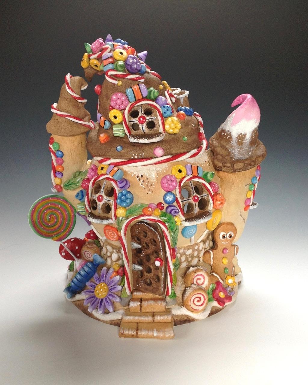Gingerbread House Tea Light Holder Ceramic Pottery